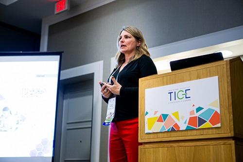 Marjorie Van Roon, CPTM, giving her presentation at TICE