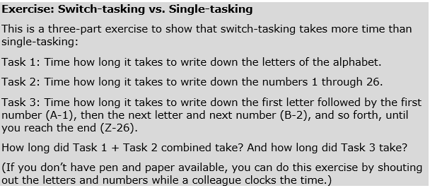 Switch-tasking versus Single-tasking Exercise