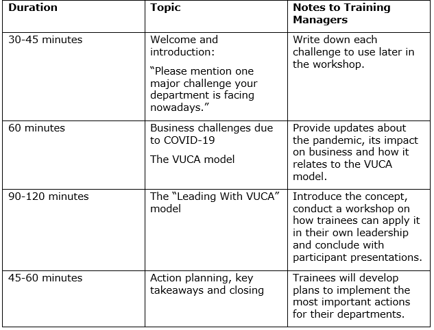 VUCA workshop model
