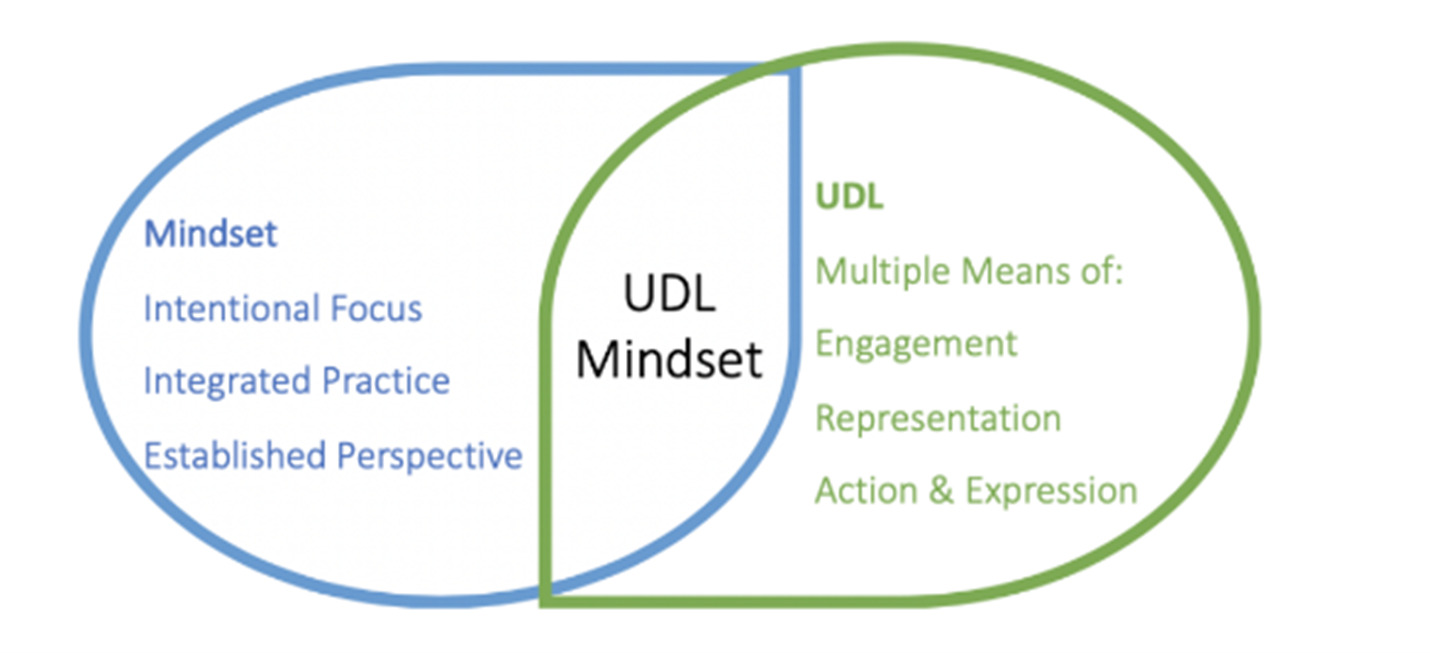 Universal design for learning mindset, intentional focus, integrated practice