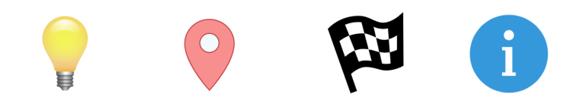 "Lightbulb, map icon, finish line flag, info ""i"" icon"